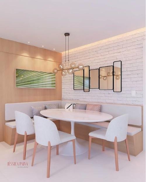 Sala moderna com canto alemão e papel de parede
