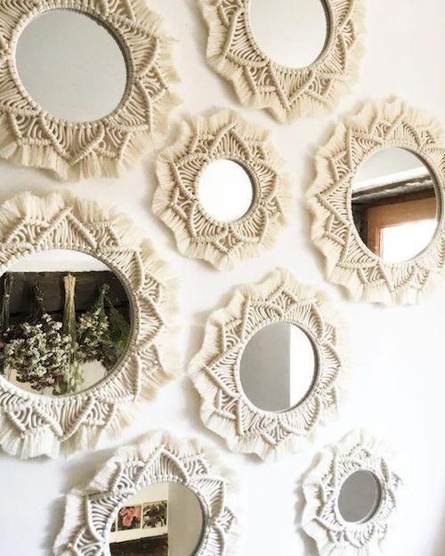 Espelho redondo com macrame