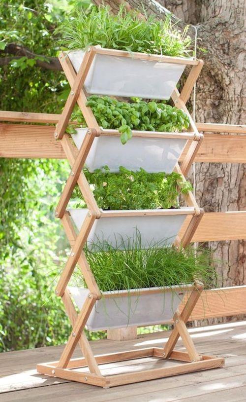 Horta pequena em suporte de madeira de chão