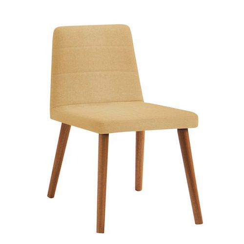 Cadeira estofada amarela