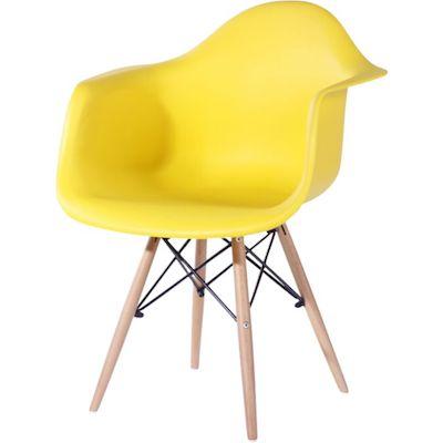 Cadeira eames com braço amarela