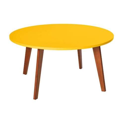 Mesa de centro amarela redonda