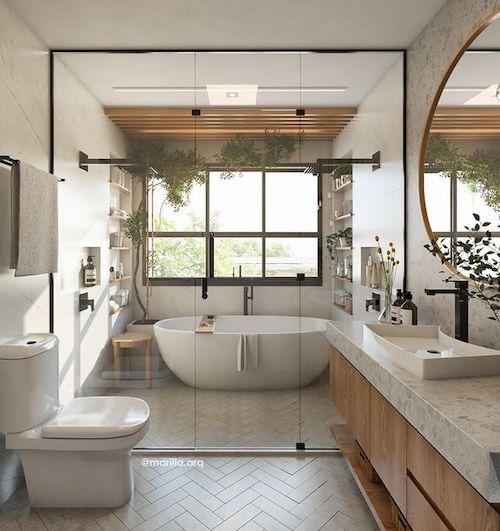 Projeto de banheiro com banheira