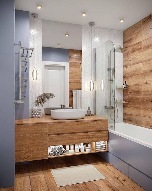 Projeto de banheiro com banheira e cuba branca