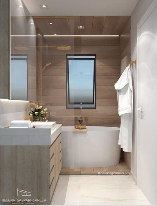 Projeto de banheiro com banheira e box juntos