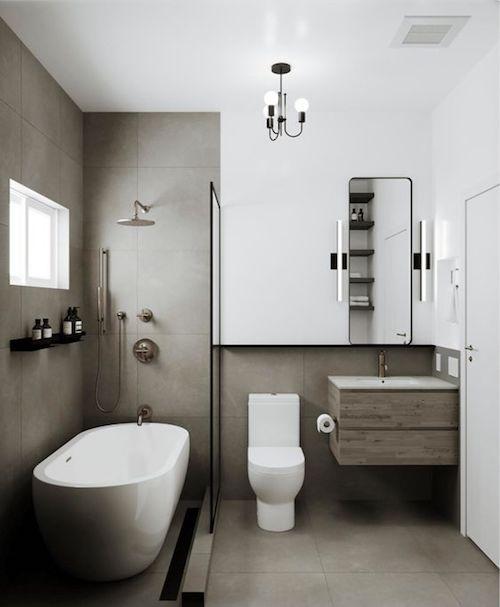 Projeto de banheiro cinza e branco com banheira pequena
