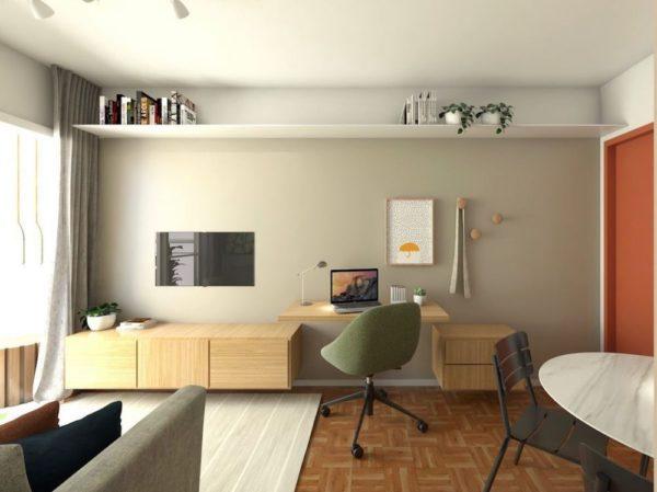 Home office na sala em prateleira de sala pequena