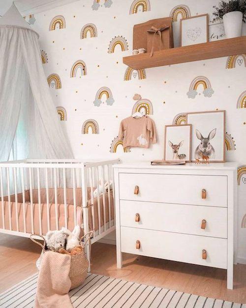 Quarto infantil decorado com papel de parede