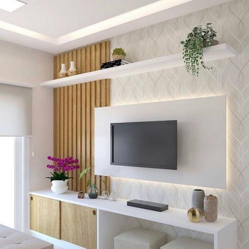 Sala de estar pequena com papel de parede