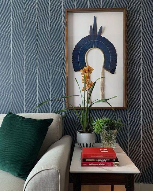 papel de parede azul na sala